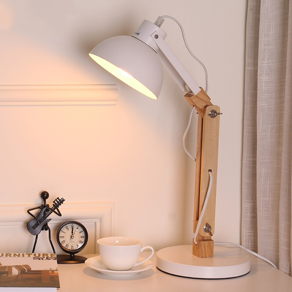Great St. 5W LED Eye Protection Reading Light Study Room Children Learning Table Lamp Bedside Lamp Solid Wood Desk Lamp FGD (Color : White)