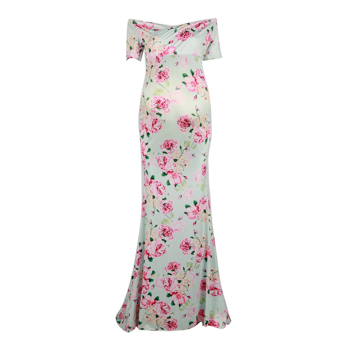 21a58abc473 Puseky Women Maternity Floral Off Shoulder Long Dress for Photoshoot  Photography  Amazon.co.uk  Clothing