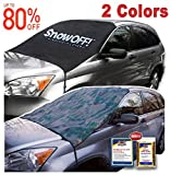 Automotive : SnowOFF EXTRA LARGE Windshield Snow Ice Cover - FIT ANY CAR, SUV Truck Van - WINDPROOF Straps, Wings, Suction Cups, Magnets - BONUS Demist Cloth + Blanket - Winter Frost Automotive Hood Covers