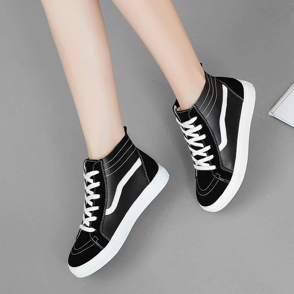 Damenschuhe HWF High Herbst Top Herbst High britischen Stil Freizeitschuhe College Style Single Schuhe Turnschuhe (Farbe   schwarz Weiß größe   40) e3fee1