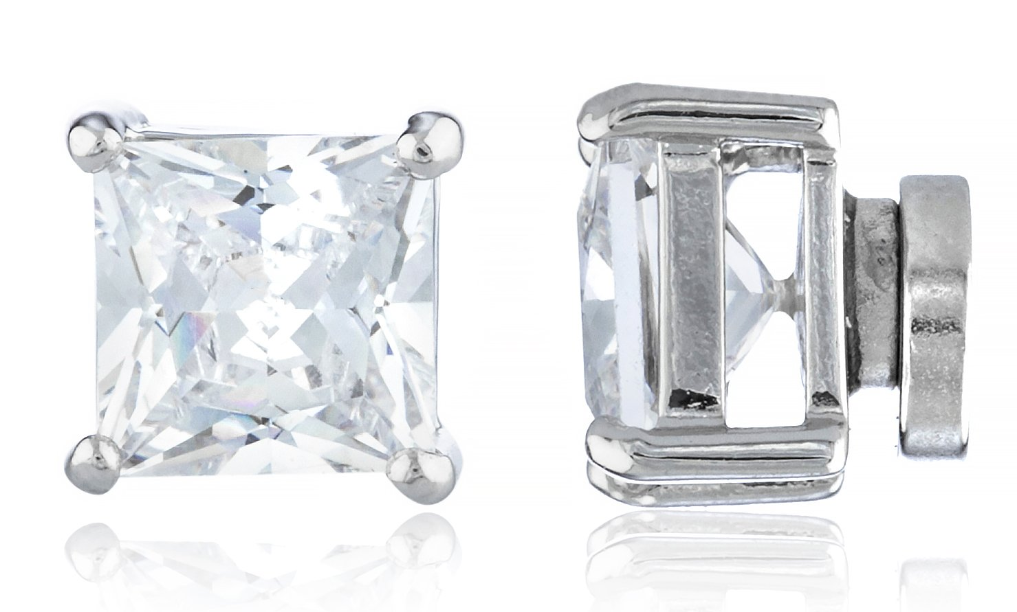 New & Improved! Silvertone with Clear Cz Square Magnetic Stud Earrings - 4mm to 12mm Available (7 Millimeters) (E-1515)