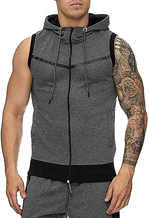 MODOQO Sport Vest for Men,Summer Elastic Soft Tank Tops Bodybuilding Sleeveless Tops