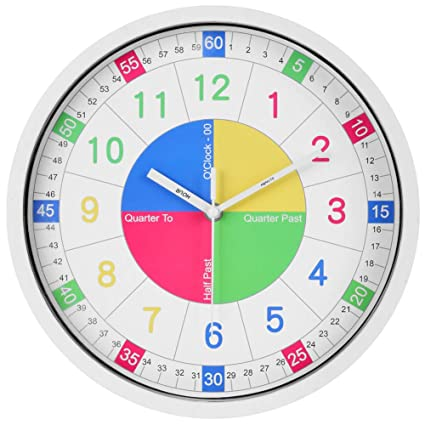 Teaching Clock for Kids Learning | Best Educational Wall Clock to Teach  Time, 12 Inch Silent Non-Ticking Quartz Decorative Wall Clock for Teacher's  ...