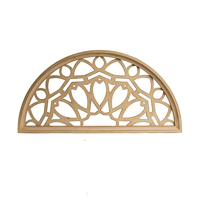 Distressed Wood Half Moon Cut Out Architectural Wall Decor