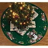 Bucilla Candy Snowman Tree Skirt Felt Applique Kit, 86307 43-Inch Round