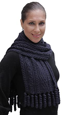 42d367055a Hand Knitted Superfine Natural Alpaca Wool Cable Chunky Scarf Unisex Navy  Blue