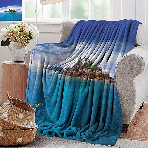 PearlRolan Beach Blanket,Island,Island at Seychelles Coconut Journey Jungle Rocky Coast Waves Surface Print,Blue Caramel Green,300GSM, Super Soft and Warm, Durable 30