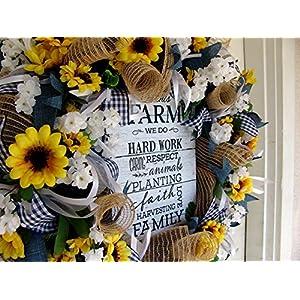Farmhouse Decor, Farm Sign, Sunflower Fall, Spring, Summer Wreath, Front Door, Burlap Sunflower Wedding, Country 40