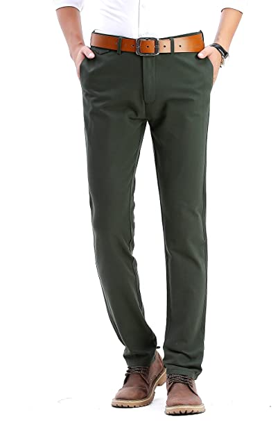 682284968a FLY HAWK Mens Slim Fit Flat Front Casual Twill Pants 100% Cotton Work  Tapered Pants, 21 Colors, Size 29-40
