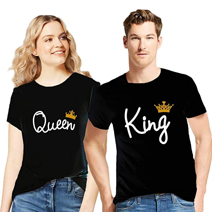 available thoughts on outlet store sale GiftsCafe Couple Tshirts King Queen Printed Matching Tees Valentine Gift  for Men Women (Set of 2)
