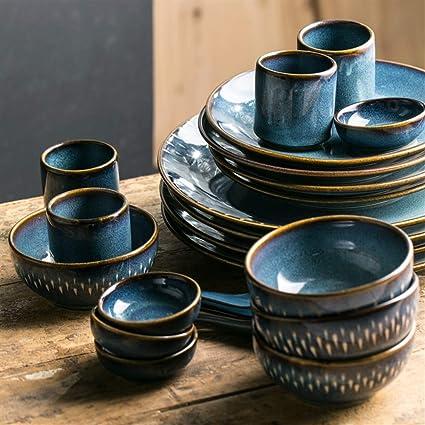 Udane Cuenco Plato de Ensaladas Decoración Regalo Horno Europeo esmaltado Plato de cerámica Creativo Plato de