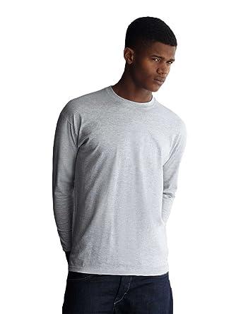 9fe4e816c7af Fruit of the Loom 61-038-0 Long-Sleeved T-Shirt - Grey - XX-Large:  Amazon.co.uk: Clothing