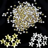 Gotd 500 Pieces Gold Silver 5mm Star Metal Studs for Nail Art Cellphone Decorations Powder Sticker Tips Decal Manicure (Gold & Silver)