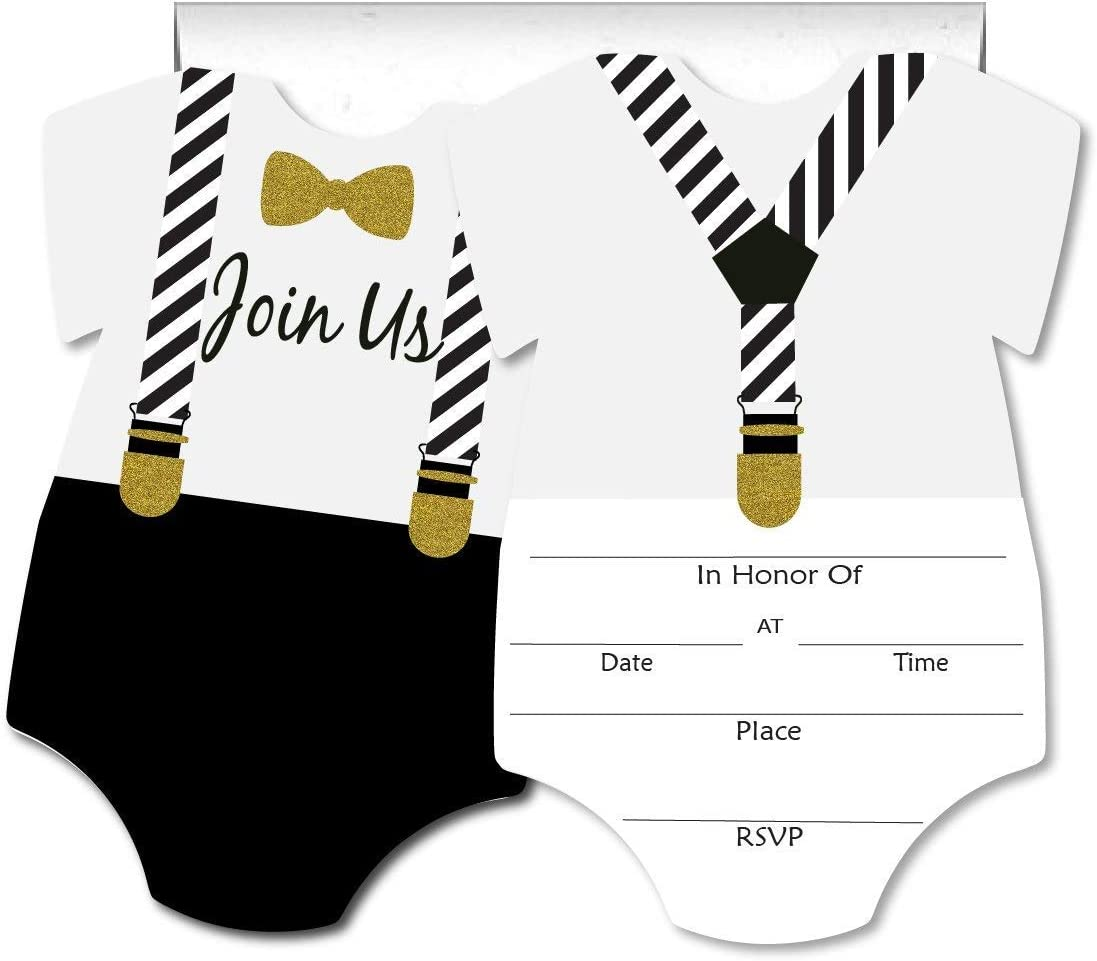 PaperGala Formal Glam Little Man Blank Invites 50 Pack Fill in Invitations with Envelopes for Baby Shower 1st Birthday Black White Gold Tuxedo