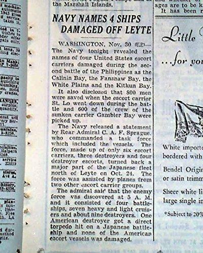 USS ST. LO Escort Carrier KAMIKAZE Airplanes Attack 1945 World War II Newspaper THE NEW YORK TIMES, December 1, 1944