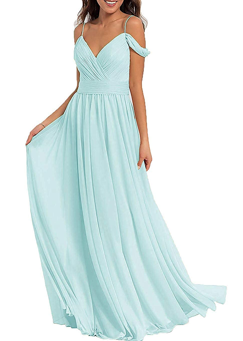 bluee Glass Women's V Neck Cold Shoulder Bridesmaid Dress Long Prom Gown Party Maxi Skirt