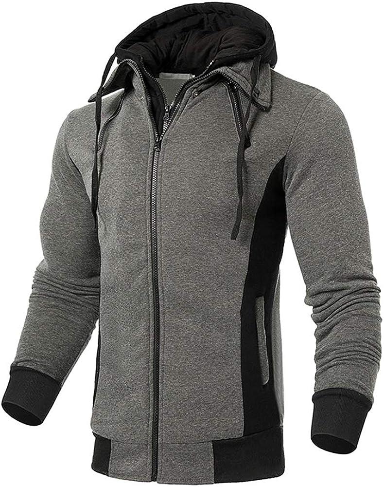 QPNGRP Mens Long Sleeve Hooded T-Shirt Slim Fit Hoodie Shirt