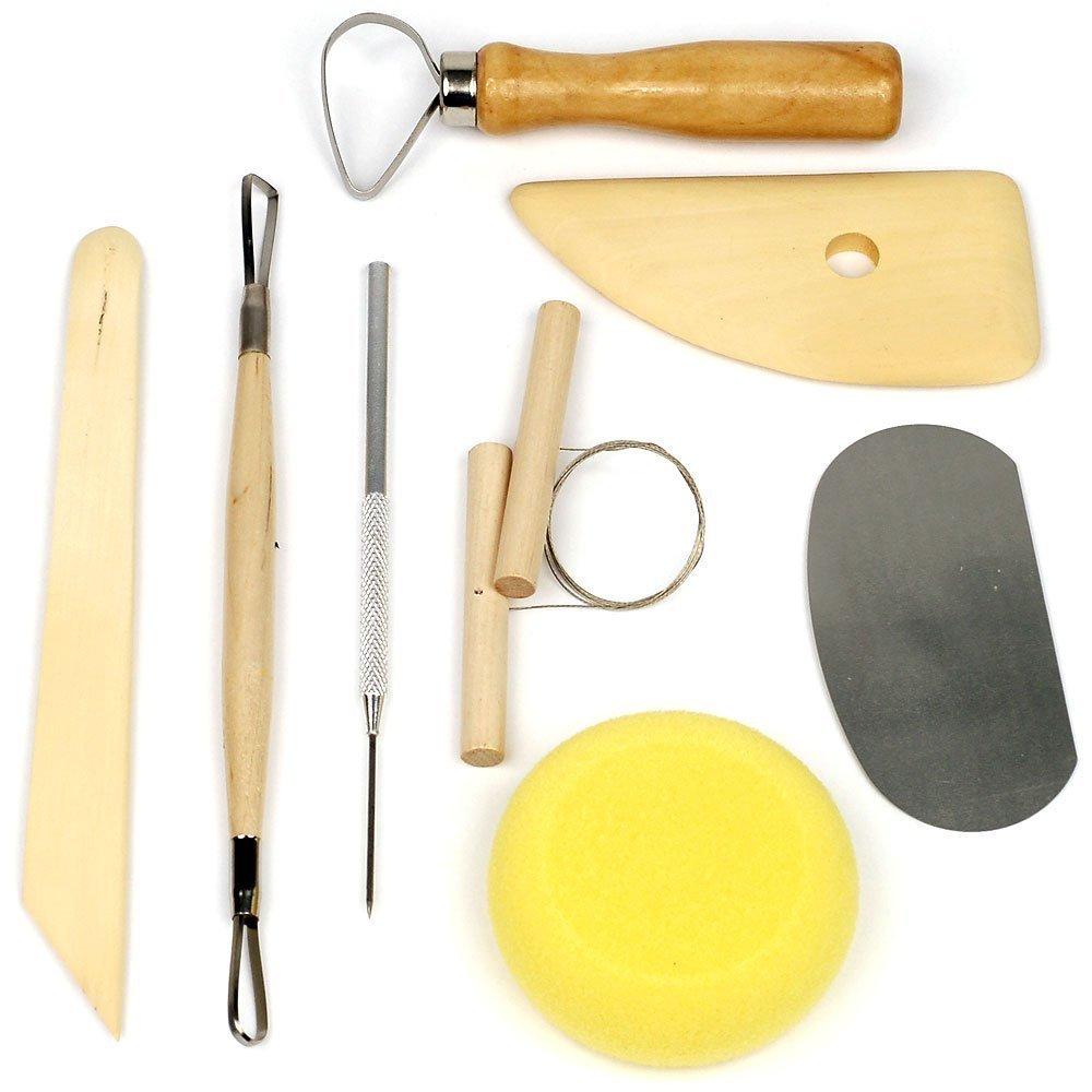 COMIART 8Pcs Wood Metal Pottery Clay Ceramics Molding Carving Sculpting Tools SCS00005