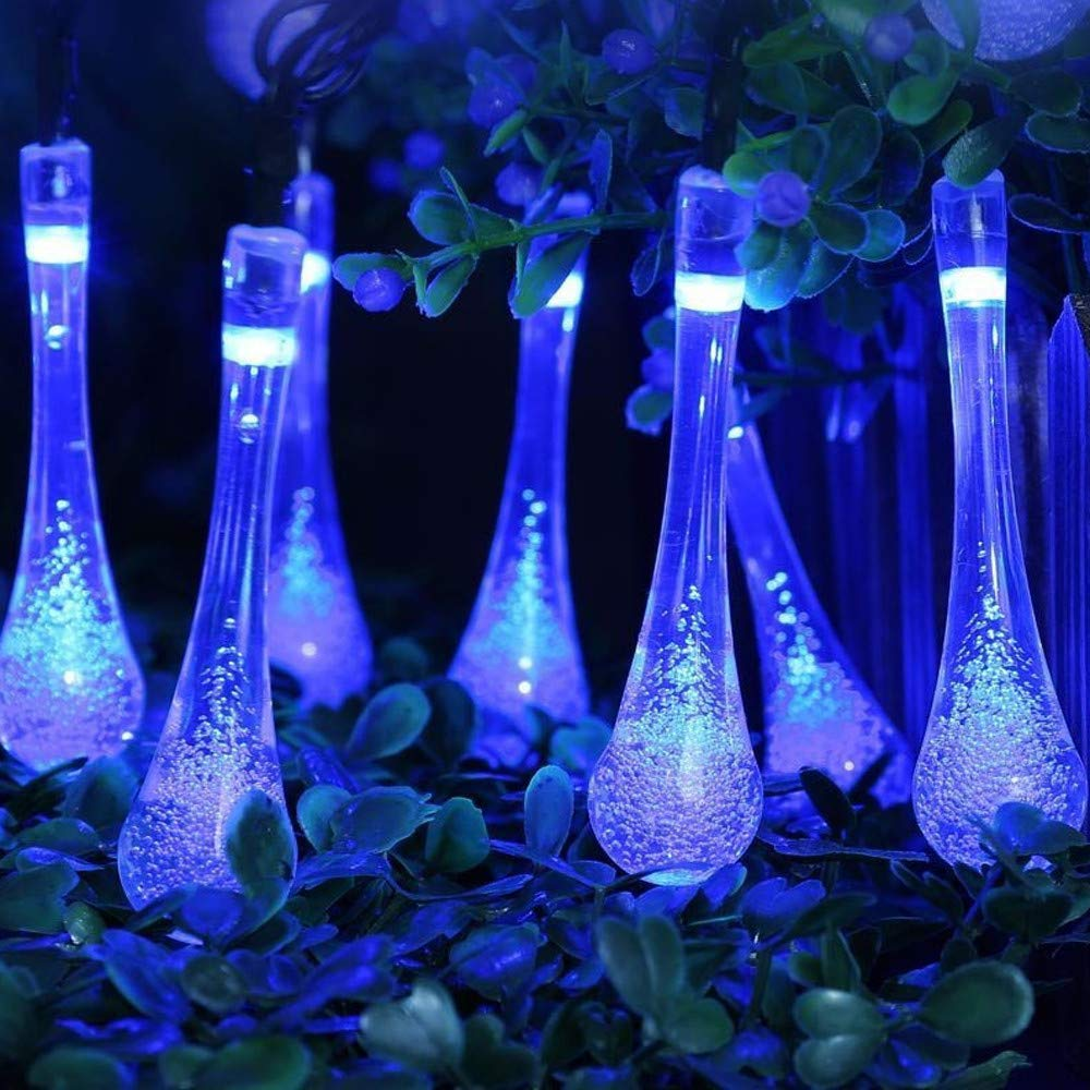 DDLBiz Outdoor Garden Party 30 LED Raindrop Teardrop Solar Powered String Fairy Lights (Blue)