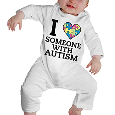 Cute I Love Someone with Autism Playsuit Long Sleeve Cotton Bodysuit for Baby Boys and Girls