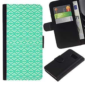 KingStore / Leather Etui en cuir / Samsung Galaxy S6 / Vibrante patrón nativo Wallpaper;