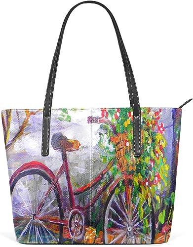 Bolsos de mujer Jardín Bicicleta Flor Floral Verano Tote PU Cuero: Amazon.es: Zapatos y complementos