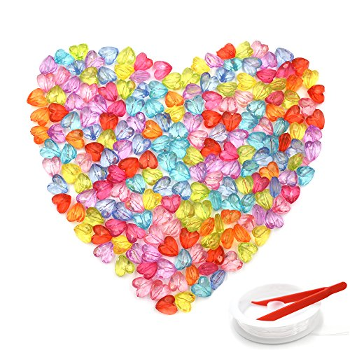 Cube Mini Beads (HZOnline Acrylic Beads Love Heart Transparent Faceted Plastic Dispersed Colorful Loose Beads for Kids DIY Jewelry Making, Necklaces, Bracelets (200PCS 12X12mm))