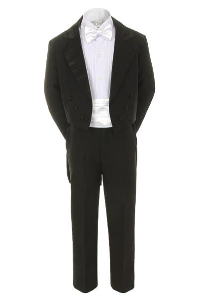 Amazon.com: unotux 7pc Boy Traje Negro Tuxedo con la cola ...