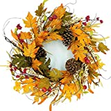 """Idyllic 20"""" Autumn Pine Cone Wreath with Berry Decorative Faux Artificial Harvest Fall Maple Leaves Harvest Front Door Decor Wreath"""