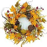 Idyllic 20'' Autumn Pine Cone Wreath Berry Decorative Faux Artificial Harvest Fall Maple Leaves Harvest Front Door Decor Wreath