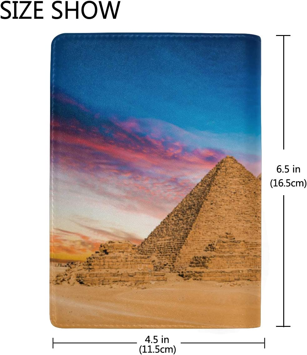 Leather Passport Cover For Women Magnificent Ancient Egyptian Pyramid Stylish Pu Leather Travel Accessories Passport Case Waterproof For Women Men