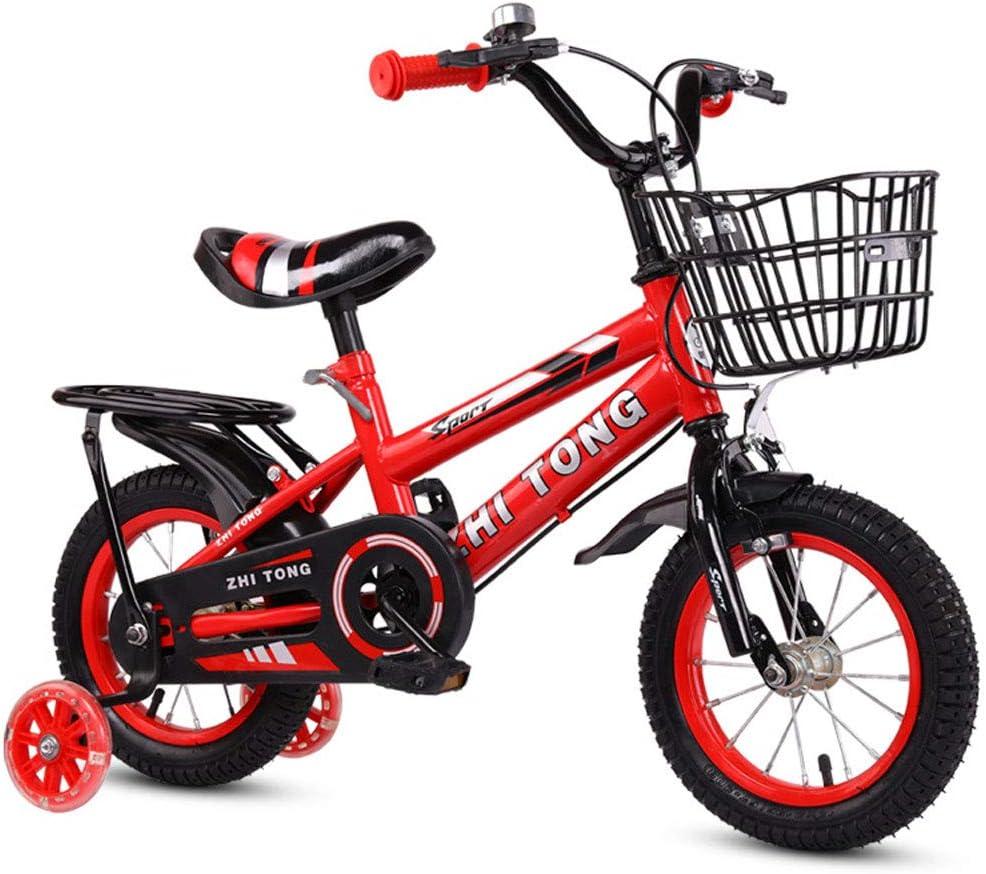 TATANE Las Bicicletas De Los Niños, 3-9 Años De Edad Chicos Y Niñas Bicicletas con Asistente De Flash sobre Ruedas, Bicicletas Bicicletas 12/18 Pulgadas Bicicleta De Montaña,Rojo,16 Inch