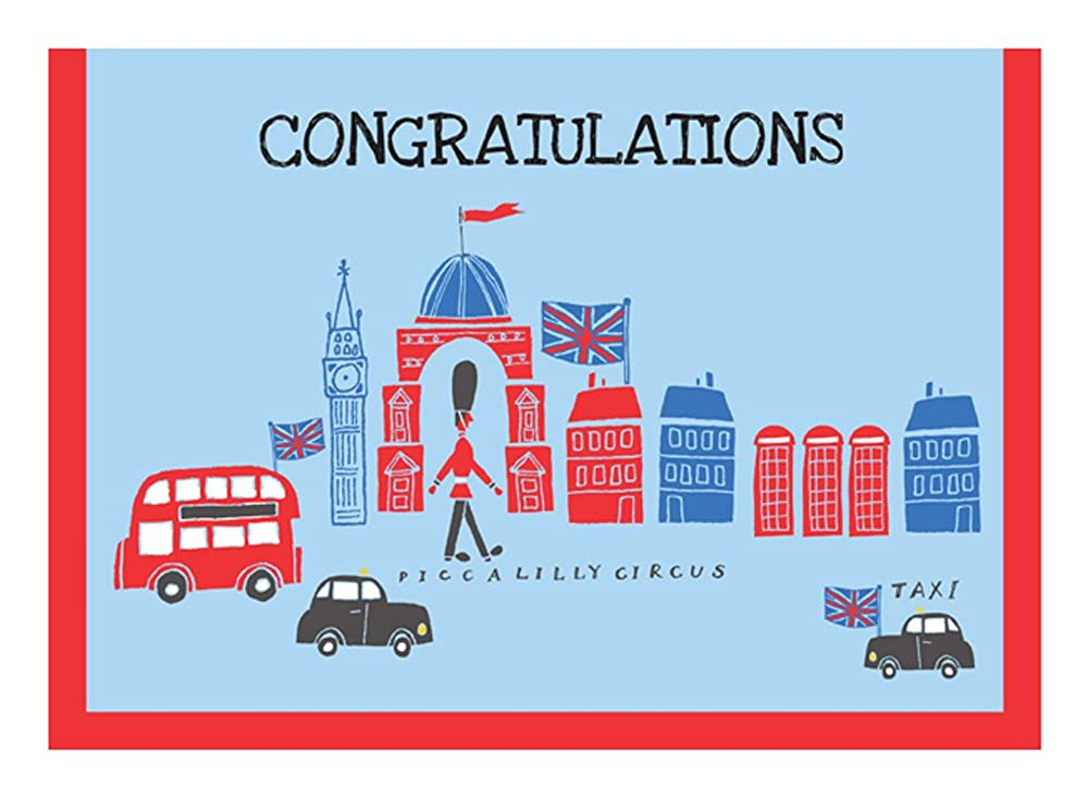 Piccalilly Circus Blue Boys Congratulations Card London Bus Theme