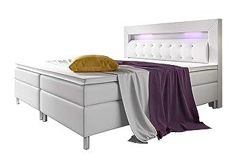 Home Collection24 GmbH Boxspringbett 180x200 cm mit 7-Zonen Taschenfederkern-Matratze H3 Schwarz Hotelbett Doppelbett LED-Bel