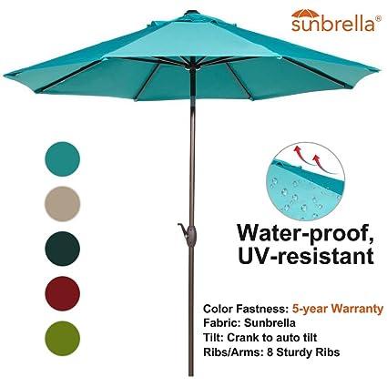 amazoncom abba patio sunbrella patio umbrella 9 feet outdoor market table umbrella with auto tilt and crank turquoise garden outdoor - Sunbrella Patio Umbrellas