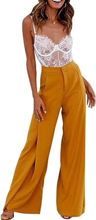 Mujer Pantalones Palazzo Cintura Alta Pantalone Largos Informales De Pierna Ancha Amazon Es Ropa Y Accesorios