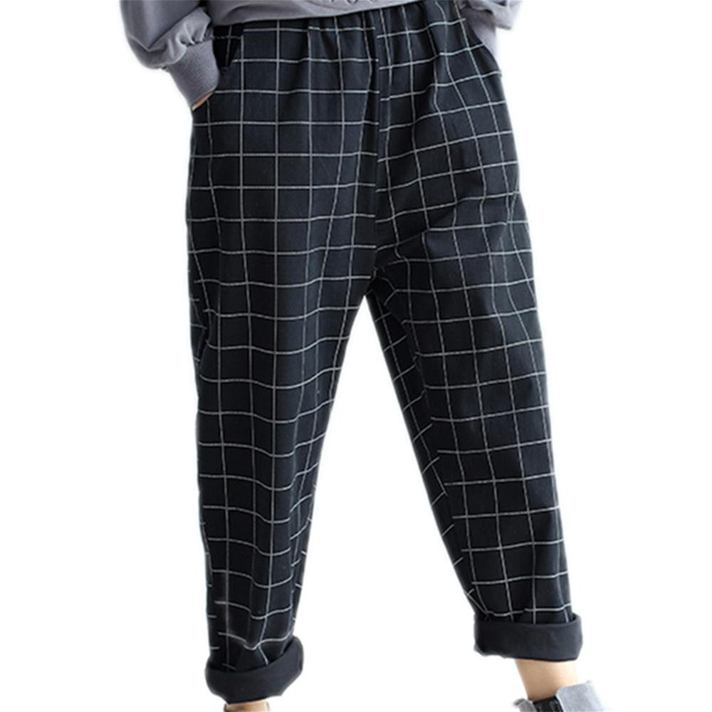 M&C Models are making new thin fat thin MM plaid cotton trousers pants Harlan pants collapse pants , black , average