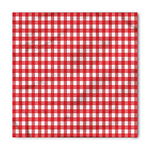 Lunarable Unisex Bandana, Vintage Christmas Concept Checkered, White Red