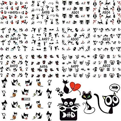 12 Diseño En 1 Conjunto Lindo Gato De Dibujos Animados