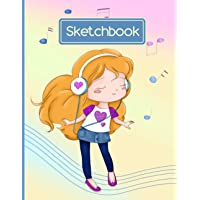Sketchbook: Sketch book for kids ages 4-8 100 blank paper to practice drawing Notebook for Doodling or Sketching Music…