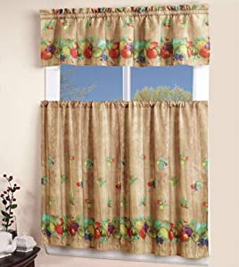 EliteHomeProducts EHP 3 Piece Printed Kitchen Curtain Set, 1 Valance & 2 Tiers (Fruits)