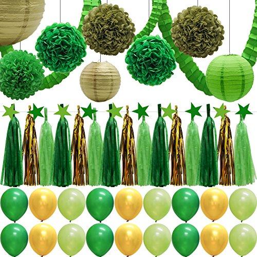 43pcs Green Party Decorations Set, Paper Lanterns, Balloons, Tassel Garland Banner, Tissue Pom Poms Flowers, Clover Garland, Paper Garland for Birthday Baby Showers Bridal Shower Wedding Decor