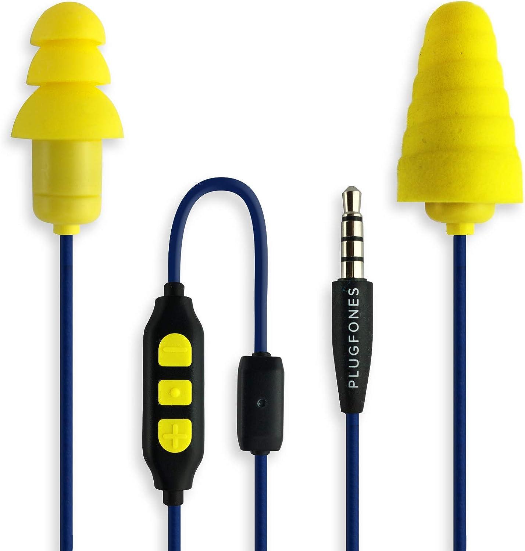 """Ohrst/öpsel der /""""In Guardian/""""-Serie mit eingebauten Ohrh/örern PlugFones gelb aus Schaumstoff und Silikon"""
