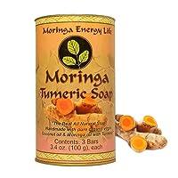 MORINGA TURMERIC SOAP 3-PACK: Rejuvenate Your Skin with All Natural Moringa Soap...