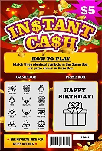 Happy Birthday Fake Scratch Off Lottery Ticket