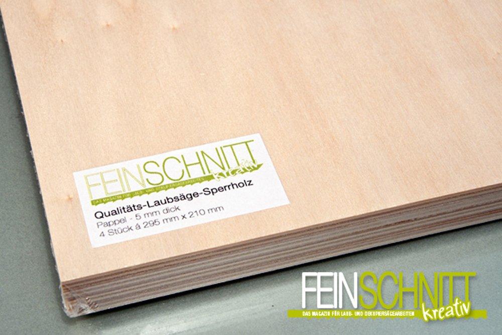 Qualit/äts-Laubs/äge-Sperrholz 4 Stk. 300 x 210 x 5 mm