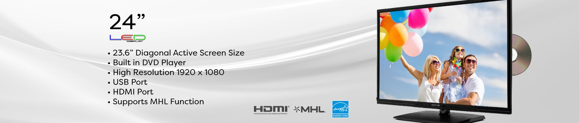 Sceptre 24'' 1080P LED HDTV DVD Combo E249BD-FMQC MHL Ready, Metal Black by Sceptre