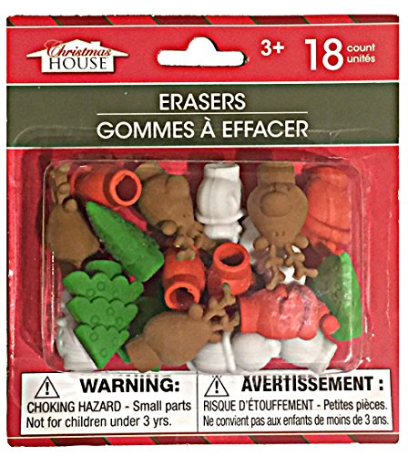 Christmas Pencil Top Erasers Package of 18