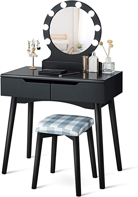 Giantex Vanity Table Set With 8 Light Bulbs And Touch Switch Princess Girls Dressing Table With Large Round Mirror 2 Sliding Drawers And Cushioned Stool For Bedroom Bathroom Black Amazon Ca Home