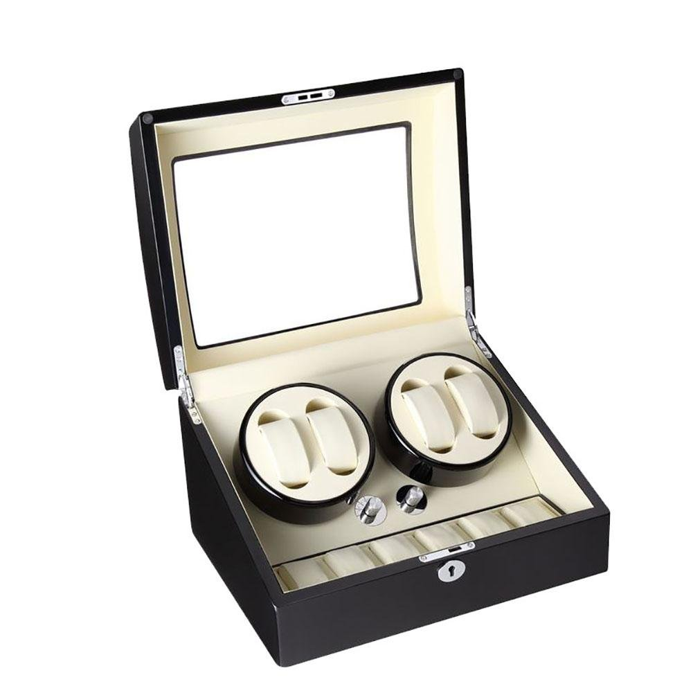 Automatic Watch Winder 4+6 Watch Display Box Storage Case Piano Paint Watch Rotator Premium Silent , lined with white